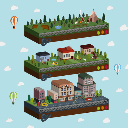 lovely city and outskirts scene 3d isometric infographic over blue