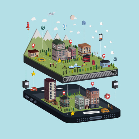 smartphones: navigation concept 3d isometric infographic with adorable city scene