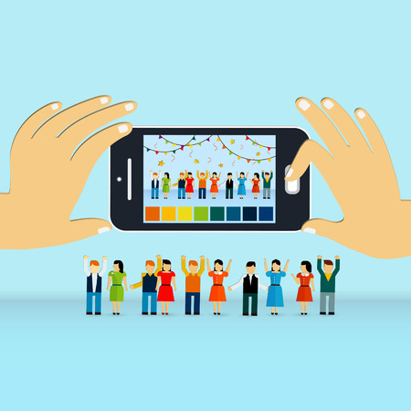 taking picture: lovely group photograph concept 3d isometric infographic