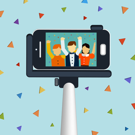 trendy selfie concept 3d isometric infographic with a selfie stick taking picture Vettoriali