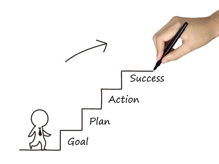 obtain: success process drawn by human hand over white background