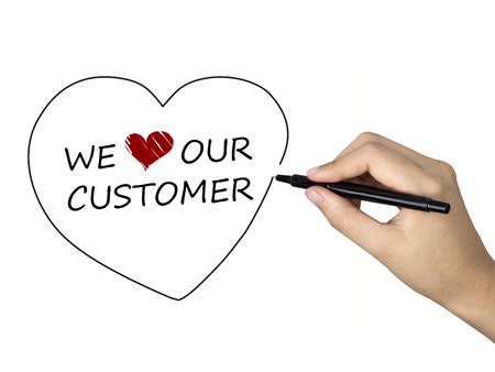 business concern: we love our customer written by human hand over white