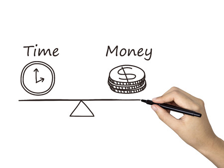 time money: time is money icon drawn by human hand over white background