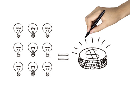 lucrative: idea is money icon drawn by human hand over white background Stock Photo