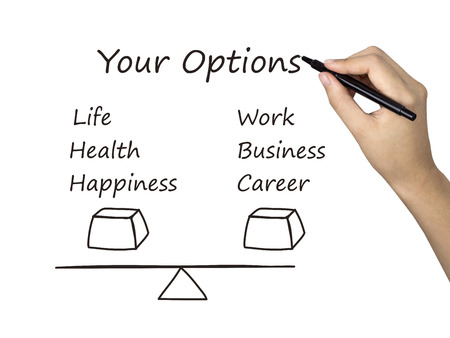 life balance: life and career balance drawn by human hand over white background Stock Photo