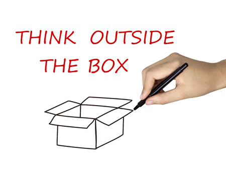 think outside the box: think outside the box drawn by human hand over white background Stock Photo