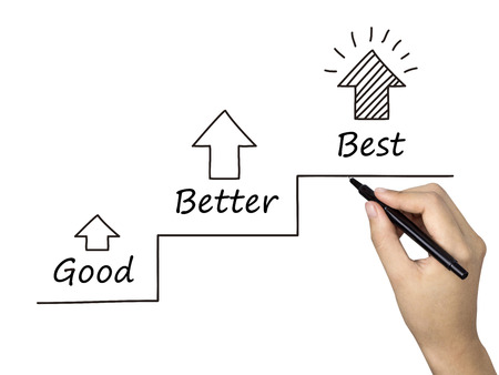 good better best: better and better concept written by human hand over white background