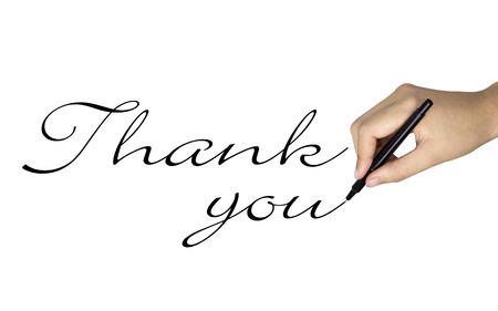 sponsoring: thank you words written by human hand over white