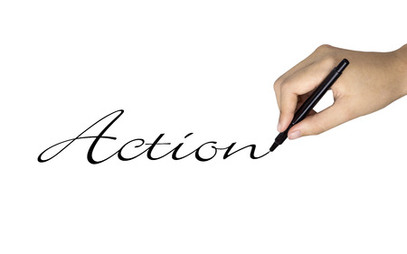 intention: action word written by human hand over white