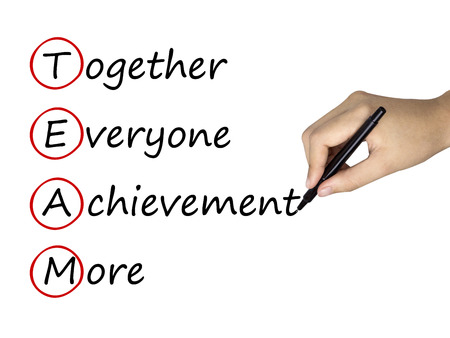 jointly: team work concept written by human hand over white Stock Photo