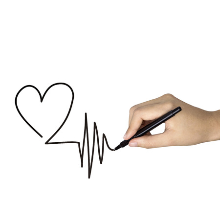 cardiological: heart shape drawn by human hand isolated on white background