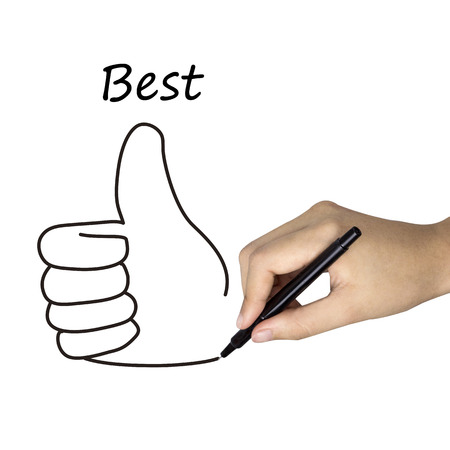 thumb up icon: best word and thumb up icon drawn by human hand over white Stock Photo