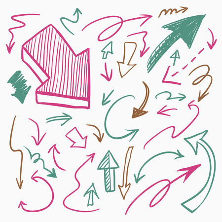 squiggly: lovely colorful hand drawn arrows set collection over white