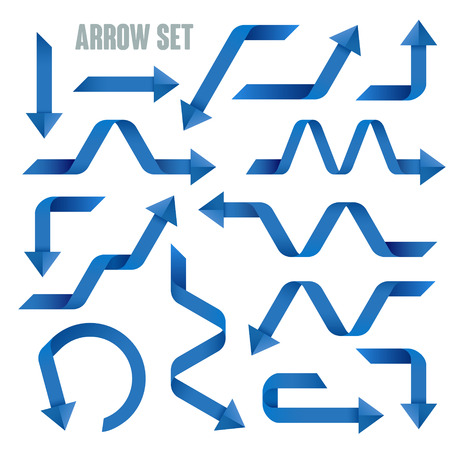 arrowheads: useful blue arrows set collection over white background Illustration