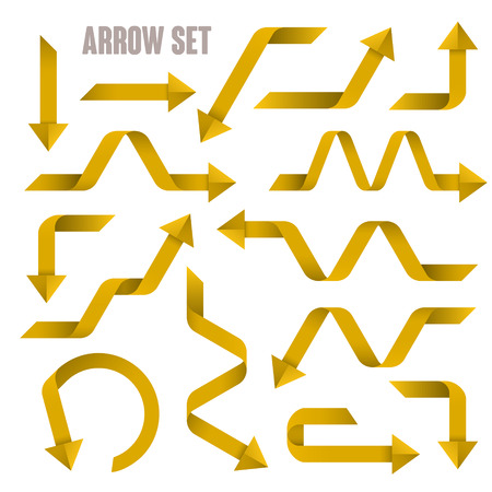 useful: useful yellow arrows set collection over white background