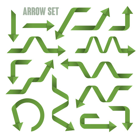 useful: useful green arrows set collection over white background Illustration