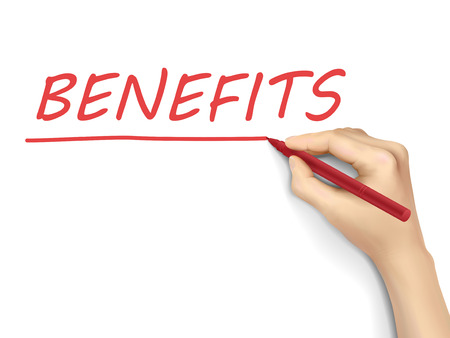 compensate: benefits word written by hand on a transparent board