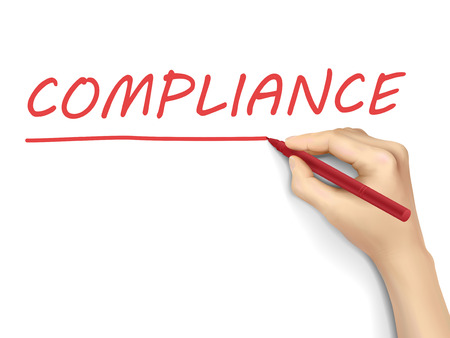 compliance word written by hand on a transparent board Illustration