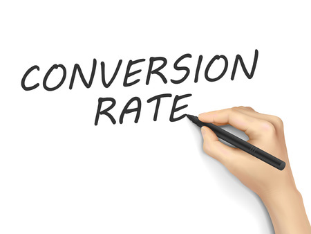 converting: conversion rate words written by 3d hand over white background Illustration