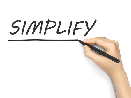 sophistication: simplificar la palabra escrita a mano sobre fondo blanco Vectores