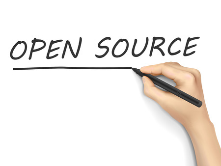 human source: open source words written by 3d hand over white background