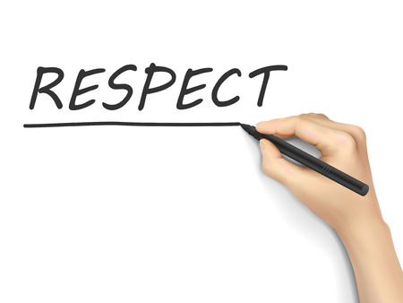 believable: respect word written by hand on white background Illustration