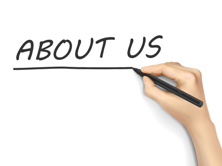about us words written by hand on white background Illustration