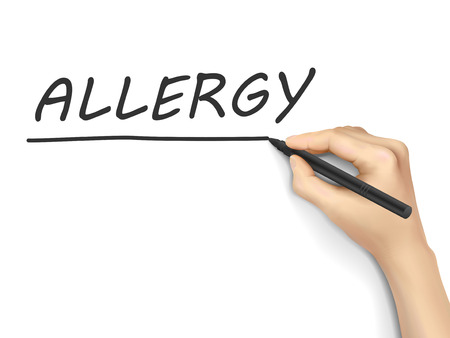 allergic reactions: allergy word written by hand on white background