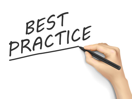practice: best practice words written by hand on white background Illustration