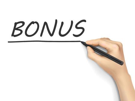 compensate: bonus word written by hand on white background