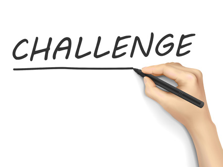 challenge word written by hand on white background