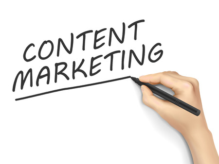 meta: content marketing words written by hand on white background Illustration
