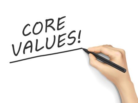 valores morales: valores fundamentales palabras escritas a mano sobre fondo blanco