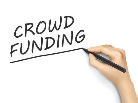 crowd sourcing: crowdfunding words written by hand on white background