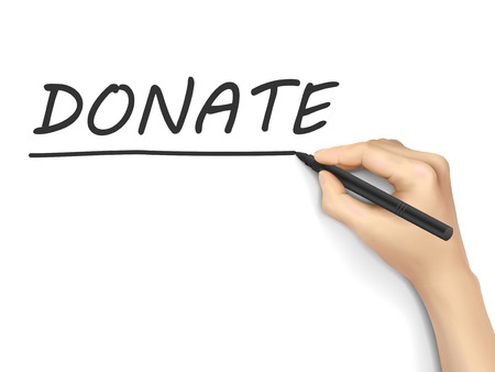 sponsorship: donate word written by hand on white background