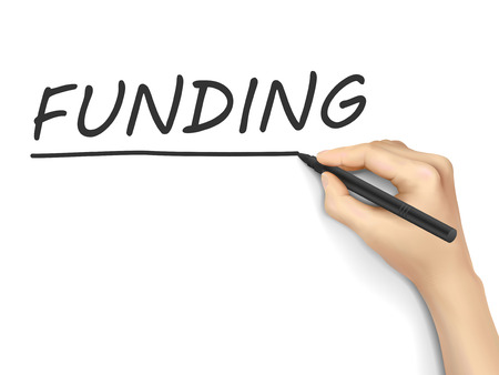crowd sourcing: funding word written by hand on white background