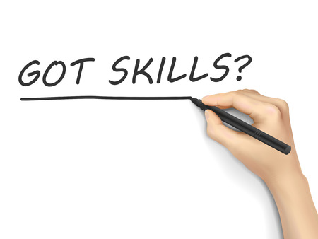 able to learn: got skills words written by hand on white background Illustration