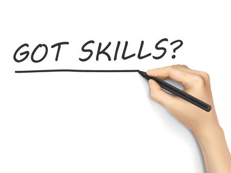 got: got skills words written by hand on white background Illustration