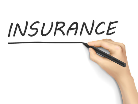insecure: insurance word written by hand on white background