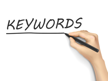 keywords link: keywords word written by hand on white background