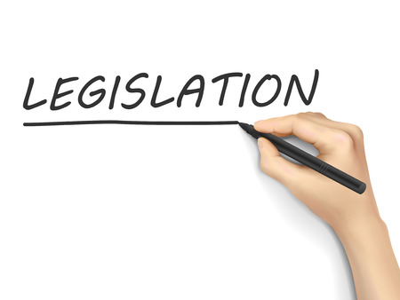 legislation: legislation word written by hand on white background Illustration