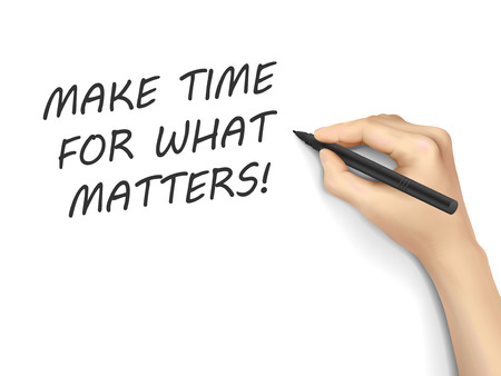 crucial: make time for what matters written by hand on white background Illustration