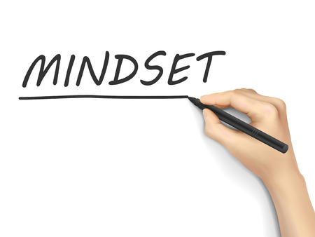 mindset word written by hand on white background Illustration