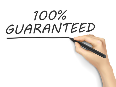 promising: 100 percent guaranteed words written by hand on white background