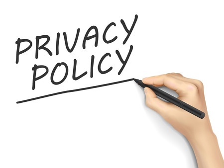 secret privacy: privacy policy words written by hand on white background