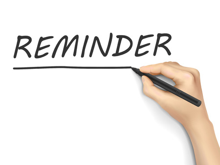 memorize: reminder word written by hand on white background
