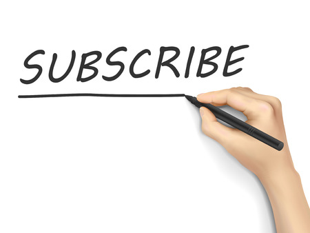 subscribe word written by hand on white background Vector