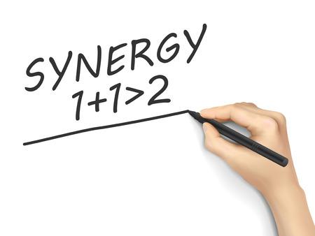 synergie: Synergie Wort mit der Hand auf wei�em Hintergrund geschrieben Illustration