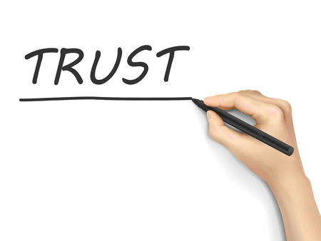 trust word written by hand on white background Illustration