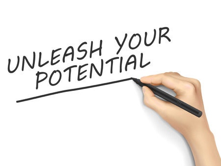 unleash: unleash your potential words written by 3d hand over white background